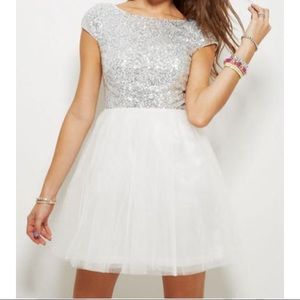 Delia's Capsleeve Mini Sequin and Tulle Dress